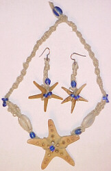 Handmade Hemp, Starfish, Shell, and Bead Jewelry for Hawaiian Wedding