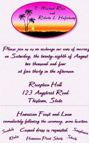 Hawaiian Wedding & Luau Invitation Inside