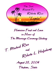 Hawaiian Wedding & Luau Program Front
