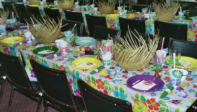 Tables decorated for Hawaiian Luau Wedding Reception